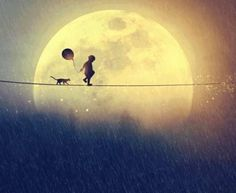 boy & cat with the moon