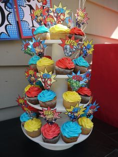 Super Hero Birthday Party - These would be really simple, we would just need to find the toppers @Jacqueline Schramm