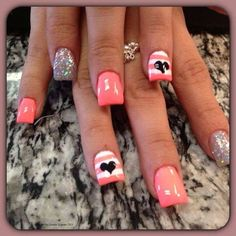 Pink stripes with silver glitter and 2 black hearts