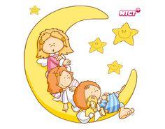 Lepicí obraz na stěnu Malá Wingels na Měsíci Baby Animal Drawings, Cartoon Pics, Cartoon Picture, Baby Art, Digi Stamps, Cute Images, Stars And Moon, Baby Animals, Baby Dolls
