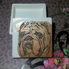English bulldog hand carved stash box jewelry candy gift box