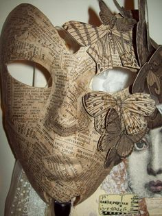(Paper Mask w moths) if i had the time and artistic skills i would make this for. (Paper Mask w moths) if i had the time and artistic skills i would make this for the masquerade haha Mascara Papel Mache, Paper Mache Mask, Butterfly Mask, Butterfly Quilt, Beautiful Mask, Venetian Masks, Masks Art, Paperclay, Recycled Art