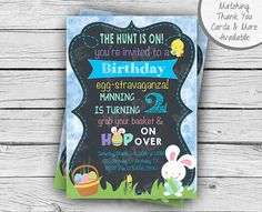 EASTER EGG HUNT Birthday Invitation, Easter Birthday Party, Girl Birthday, Boy Birthday, Party, Printable Stationery, Digital