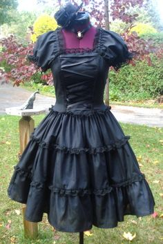 Dark Romantic Gothic Lolita Dress Custom In Your Size by Loliposh Gothic Lolita Dress, Gothic Lolita Fashion, Gothic Outfits, Dress Up, Dress Boots, Lace Dress, Dark Fashion, Japanese Fashion, Alternative Fashion