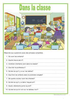 Description image - dans la classe fiche d'exercices - Fiches pédagogiques gratuites FLE