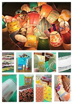 Cool DIY Outdoor Lighting Ideas To Brighten Up Your Summer - Cool DIY Outdoor Lighting Ideas To Brighten Up Your Summer Fabric Lamps–Cover plastic cups in colorful patterned fabrics and string them onto lights. Crafts For Teens, Crafts To Sell, Home Crafts, Diy And Crafts, Garden Crafts, Summer Crafts, Origami Lamps, Craft Projects, Projects To Try
