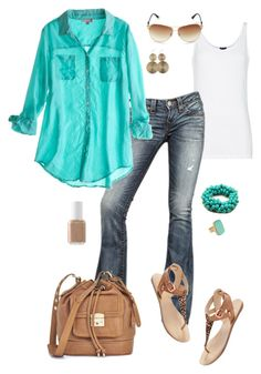 """""""Trendy Tourist"""" by fun-to-wear ❤ liked on Polyvore featuring MANGO, True Religion, Calypso St. Barth, Madewell, Juicy Couture, Fantasy Jewelry Box, Essie and Pieces"""