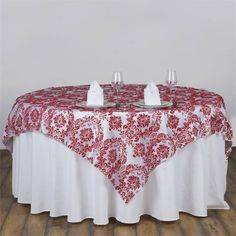 Create an elegant tablescape with efavormart's Taffeta table cloths and overlays. Buy our premium quality Taffeta Flocking Overlays and runners at wholesale rates. Red Wedding Decorations, Valentines Day Decorations, Banquet Tables, Wedding Reception Tables, High Dining Table, Damask Decor, Square Tables, Round Tables