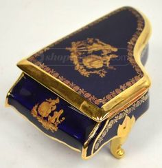 Limoges Cobalt Blue Piano Colonial Trinket Box
