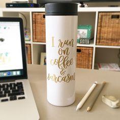 Funny Travel Coffee Mug - I Run on Coffee & Sarcasm Travel Mug - Sarcastic Coffee Mugs - Sarcasm Gift - Gift for Female Coworker Gifts For Female Coworkers, Gifts For Husband, Coffee Tumbler, Coffee Mugs, Coffee Travel, Travel Mugs, Mug Crafts, Caffeine Addiction, Travel Humor