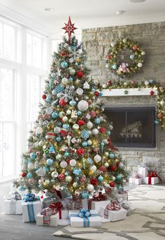 Spread holiday cheer around your home by setting up your Christmas tree early! Get the look of vintage-inspired glass ornaments with the benefits of shatter-proof (safe for kids and pets! Christmas Tree Inspiration, Beautiful Christmas Trees, Christmas Tree Themes, Blue Christmas, Xmas Tree, Christmas Tree Decorations, Christmas Holidays, Holiday Decor, Christmas Morning