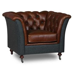 Granby Cerato Brown Leather Aberdeen Sea Wool Armchair Brown Leather Furniture, Brown Leather Armchair, Leather Club Chairs, Leather Recliner, Comfortable Office Chair, Comfy Sofa, Living Room Seating, Living Room Chairs, Sofa Chesterfield