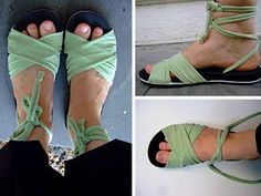Repurposed/upcycled DIY summer gladiator style sandal from tee shirt tutorial