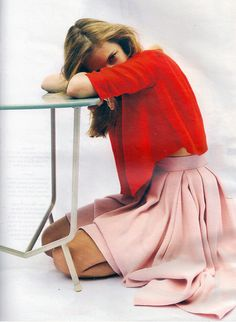 pink skirt red blouse