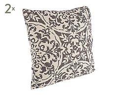 Set de 2 cojines de algodón y lino Damask, gris - 45x45 cm