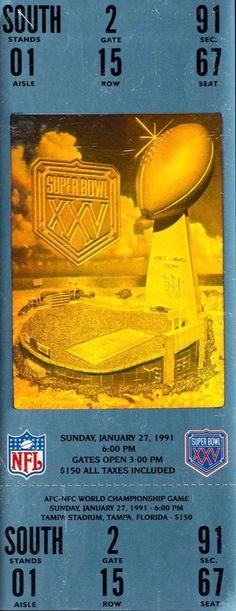 Super Bowl tickets stubs - Super Bowl XXV ticket stub. #NFL #SuperBowl #Championship #SuperBowlTickets Nfl Superbowl, Football, Super Bowl Xxv, Super Bowl Tickets, Tampa Florida, World Championship, Dallas Cowboys, Soccer, Futbol