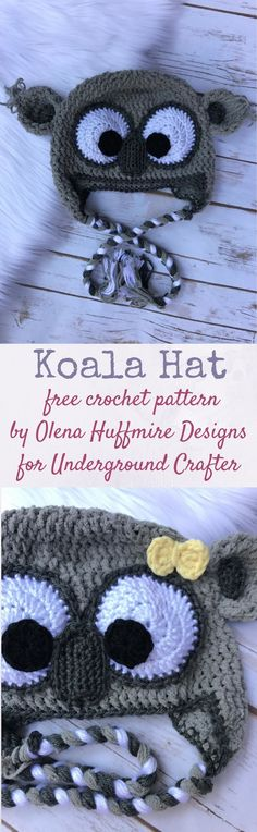 Free crochet pattern: Koala Hat by Olena Huffmire Designs for Underground Crafter : Free crochet pattern: Koala Hat by Olena Huffmire Designs for Underground Crafter Crochet Beanie, Cute Crochet, Crochet For Kids, Crochet Toys, Crochet Baby, Knit Crochet, Crochet Children, Crocheted Hats, Easy Crochet Patterns