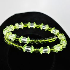 Bright Green, Yellow and Clear Glass Floral Memory Wire Choker