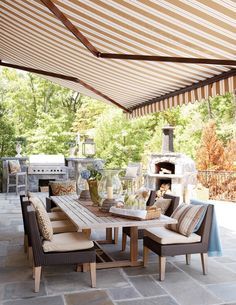 beautiful patio - Cindy Rinfret, Rinfret designs, the awning is amazing