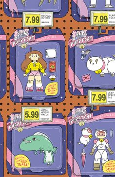 """BEE AND PUPPYCAT #6 Retail Price:$3.99 Authors: Natasha Allegri and Garrett Jackson Artist: Natasha Allegri Cover Artists: A. Caroline Breault B. Zac Gorman C. Natalie Nourigat (INCENTIVE) Nothing can ever be normal for poor Bee, and that includes getting strange house guests that make her non-temp life seem more like a full-time job! PuppyCat doesn't say this often...well, he does, but he's got a big case of the """"Told-you-so's"""" that Bee will definitely not want to hear."""
