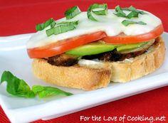 Chicken and Avocado Caprese open faced sandwich