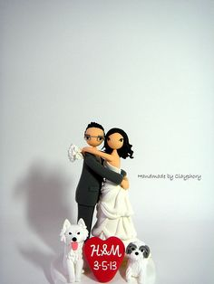 Lovely customized wedding cake topper by Clayphory on Etsy, $150.00