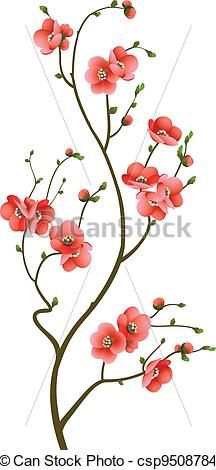 Abstract background with cherry blossom branch isolated. Cherry Blossom Painting, Cherry Blossom Flowers, Branch Drawing, Geniale Tattoos, Art Icon, Motif Floral, Flower Template, Whimsical Art, Flower Tattoos