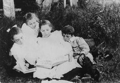 Group of children sitting on the grass reading books, 1900-1910 by State Library of Queensland, Australia, via Flickr #NYR12