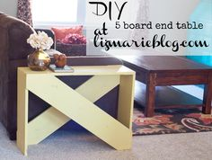 DIY 5 board end table at lizmarieblog.com... need this as an entry table and sofa table combo to frame our loveseat!