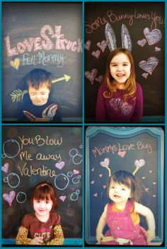 Cute homemade Valentine Cards done with your kids!! Have the child stand at the chalk board, put a line or dot at the top of their head, then draw the ears, arrow, antenna or whatever you want around it and add the words and then have them step back up to the board and take the pic! :) So simple and so cute!! They LOVED doing this!!!! :D Valentine, chalk board, DIY, photo, homemade, holiday, craft, milestones