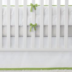 NURSERY BASICS - SPROUT  A color as cute as its name, this is the precious green of newness. Its bright fresh tone thrives with earthy browns as well as pops of blue or pink. The bumpers and skirts are crafted with classic white twill and just the right amount of color and detail. Add any of our patterned crib sheets to create the look (or looks) you love.