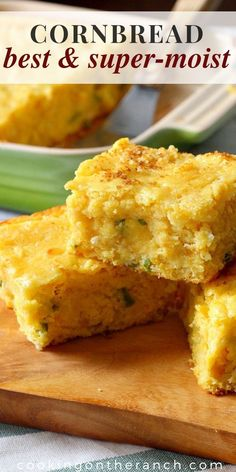 You'd almost swear there was pudding in this moist cornbread recipe. With jalapenos and cheese. Sweet with corn.  Homemade and rich with buttermilk. A Southern recipe with a Mexican Twist.  #moist #cornbread #recipe #homemade