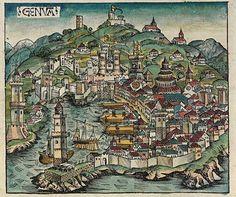 Nuremberg Chronicle Woodcut of Genoa, Italy, 1493