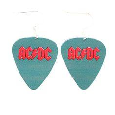 ACDC Plektrum Ohrringe AC DC Rock Musik Schmuck blau rot logo Konzertalbum   Your #1 Source for Jewelry and Accessories