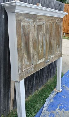 4 Panel Old Door Headboard - Dark Faux Finish