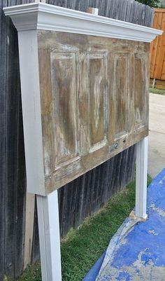 4 Panel Old Door Headboard - Dark Faux Finish