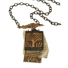 Tree of Life Story Necklace  Artist Betsy Kaage, Vintaj  Sizzix made, BDS