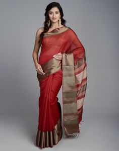 This lighter weight sari made using blend of cotton and silk fabric features hand woven fabric. This sari is a perfect for smart day wear as well as elegant evening wear.  Cotton/ Silk Blend Sari with Blouse Piece Dry Clean Only