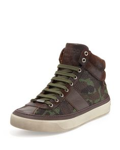 Belgravia Men\'s Camo-Glitter High-Top Sneaker, Green  by Jimmy Choo at Neiman Marcus.
