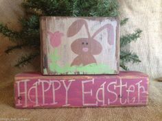 Primitive Country Easter Bunny Flower Happy Easter Shelf Sitter Wood Block Set #NaivePrimitive