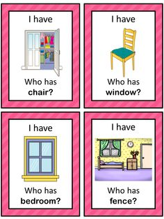 This ESL game can be played to practice English house vocabulary. The game has 39 cards with a colorful frame and 39 cards with a simple black frame to save you ink. There are 4 cards per page.