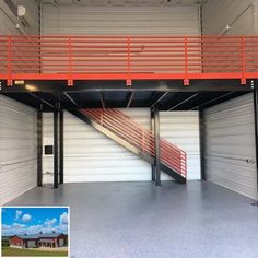 We sell all types of used Mezzanines – request a quote today or give us a call at for more information. Product Details We sell all types of used Mezzanines – request a quote today or give us a call at for more information. Garage Plans With Loft, Garage Loft, Garage Workshop, Garage Shop, Garage Doors, Pole Barn Garage, Building A Garage, Metal Building Homes, Garage Design