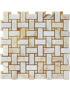 Afyon Sugar 1x2 Basketweave Polished Marble with Honey Onyx Dot Mesh-Mounted Mosaic Tile #basketweave_marble_tile #honey_onyx_mosaic_tile Glass Mosaic Tiles, Kitchen Backsplash, Basket Weaving, Marble, Honey, Mesh, Polish, Sugar, Vitreous Enamel