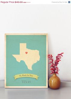 HOLIDAY SALE 25 OFF Texas Roots Map 11x14 Customized by MyRoots, $30.00