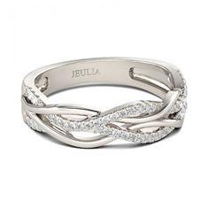 Intertwined Round Cut Created White Sapphire Rhodium Plating Sterling Silver Women's Band - Jeulia Jewelry