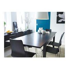BJURSTA Mesa extensível, castanho-preto - IKEA