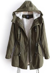 Going on my Christmas list: Green Hooded Long Sleeve Parka $61