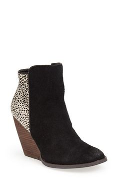 Free shipping and returns on Very Volatile 'Chatter' Bootie (Women) at Nordstrom.com. A speckled horsehair inset adds interest to a Western-influenced suede bootie lifted by a stacked demi-wedge with a woodgrained finish.