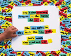 Magnetic story board. Targets sentence structure, grammar, punctuation, parts of speech.