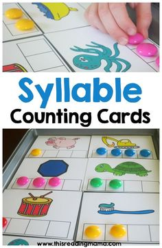 Syllable Counting Cards {FREE} This Reading MamaYou can find Phonological awareness and more on our website.Syllable Counting Cards {FREE} This Reading Mama Kindergarten Centers, Kindergarten Reading, Teaching Reading, Syllables Kindergarten, Guided Reading, Reading Fluency, Literacy Centers, Kindergarten Counting, Free Reading